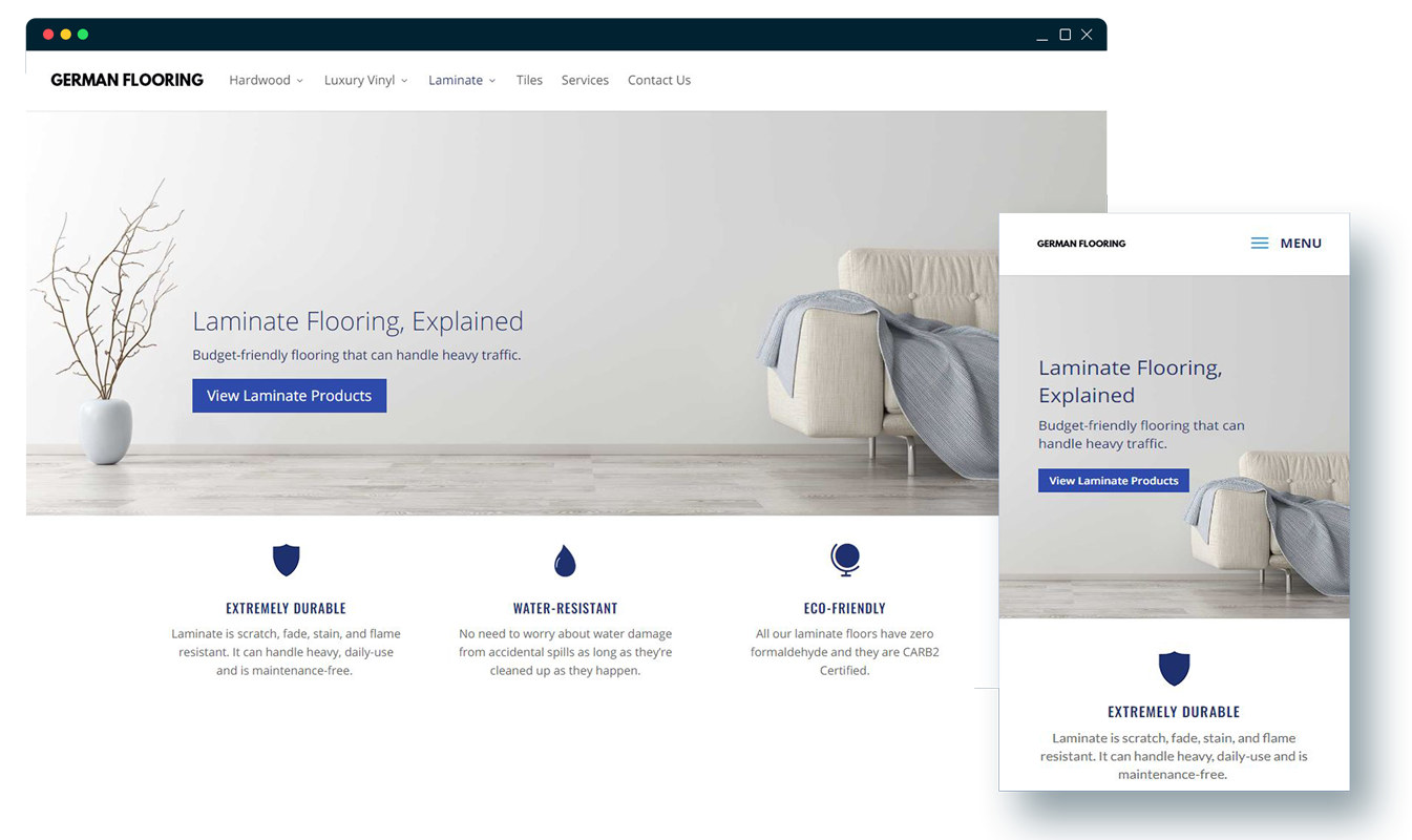 Website Design & digital marketing case study for a flooring business.