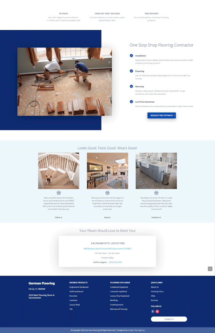 Case Study: Home page design for a flooring business.