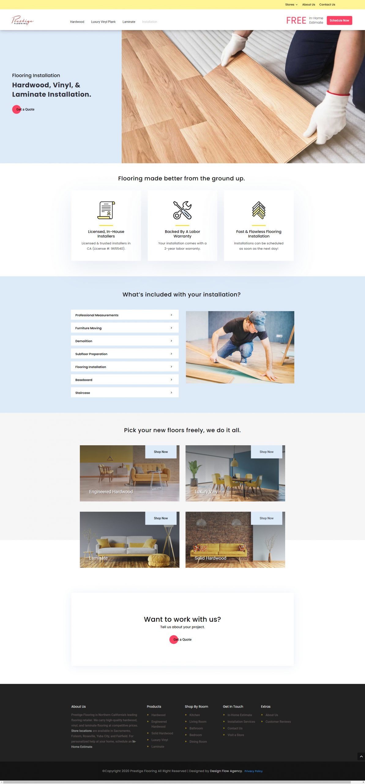 Case study: a modern web page design for a flooring installation services.