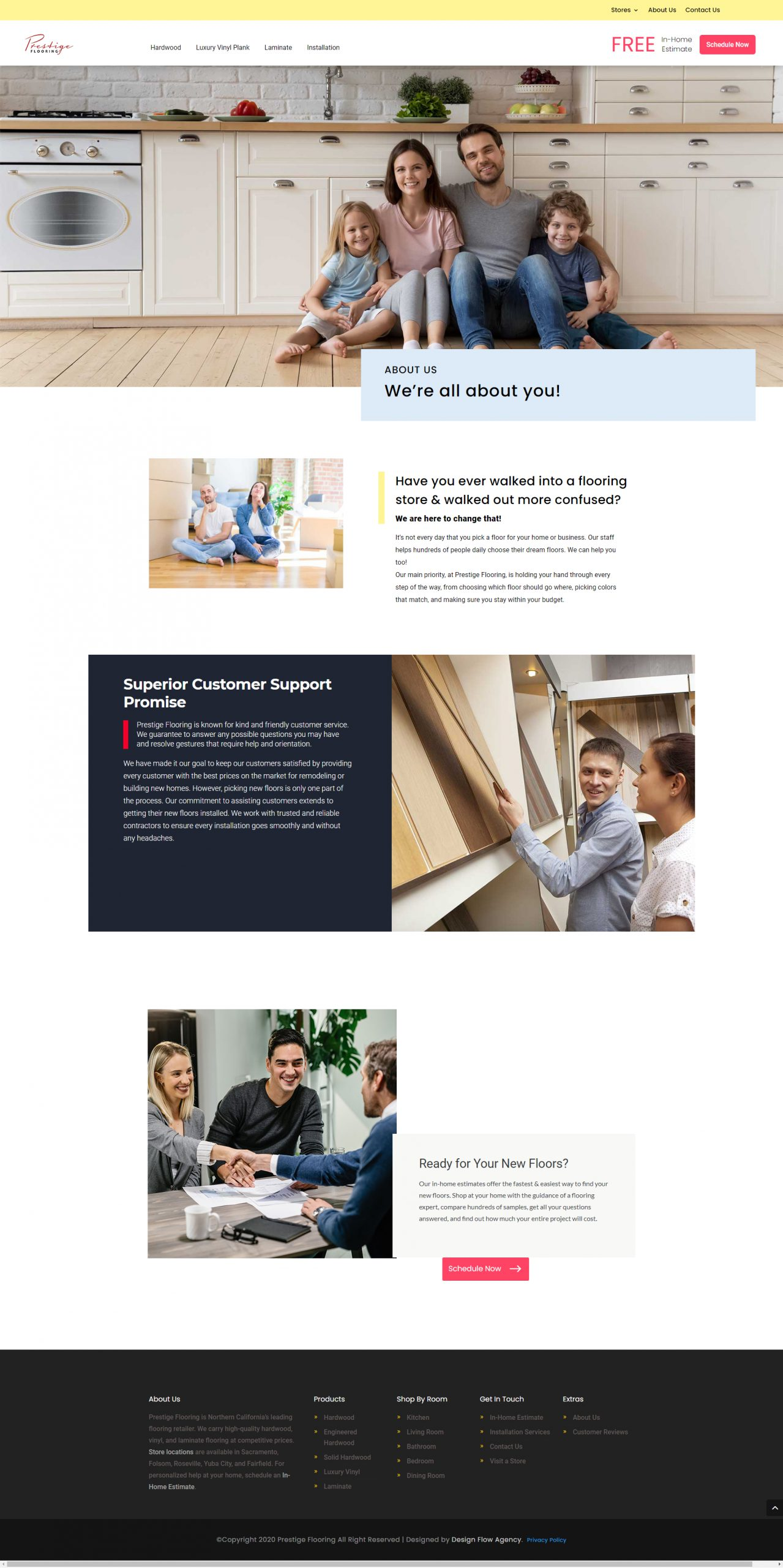 Case study: About us page for a flooring website.